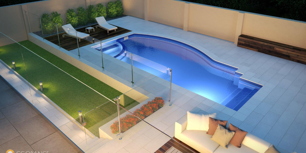 Backyard lounge zone with a modern-looking swimming pool