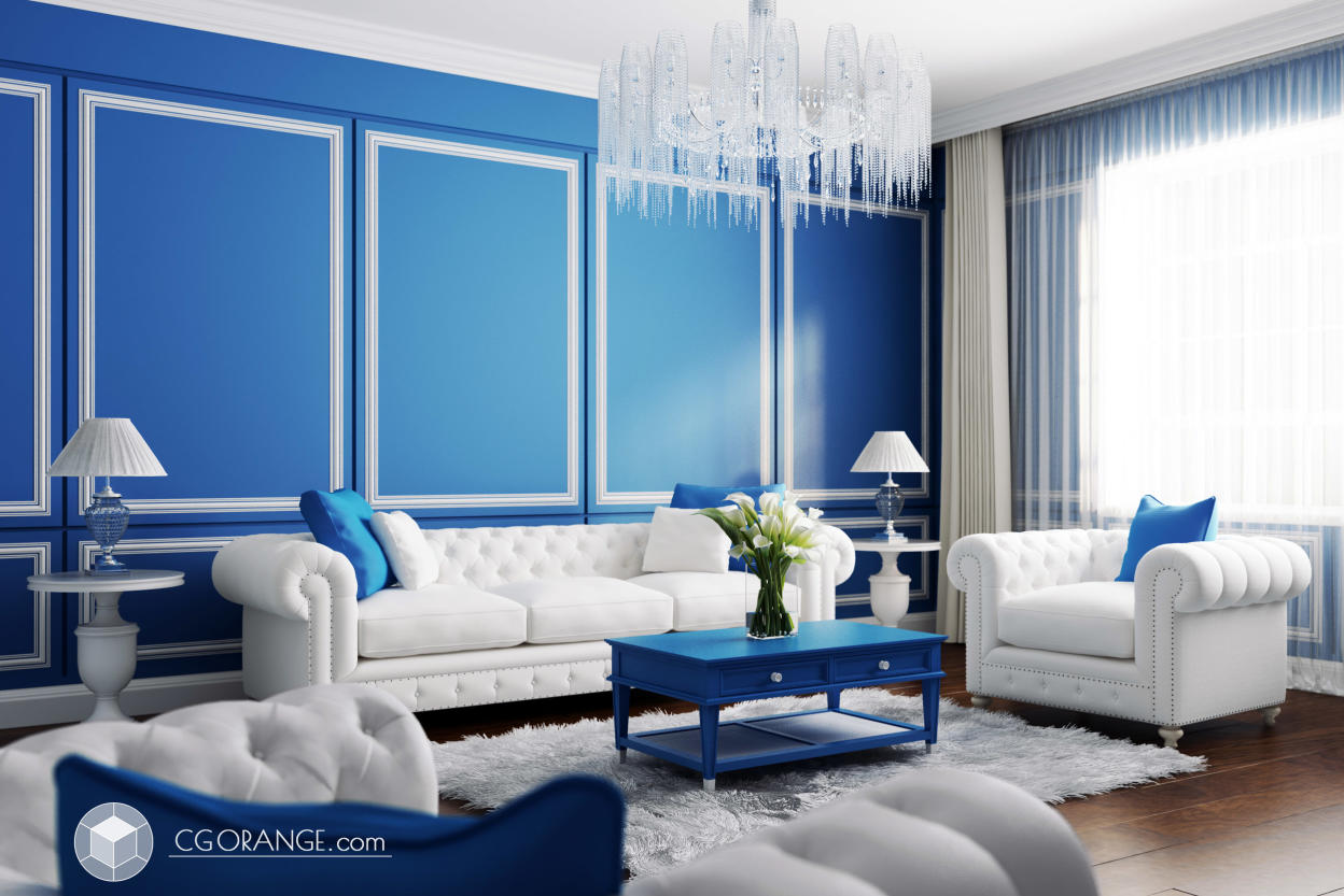 Living Room Interior With the Color Royal Blue