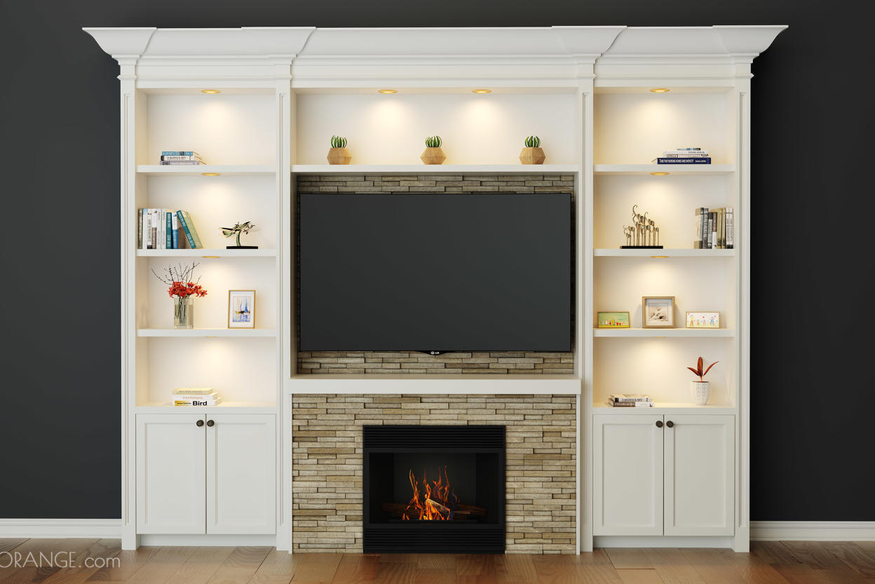 Fireplace & TV & Built-in Shelving www.Closetsolution.CA