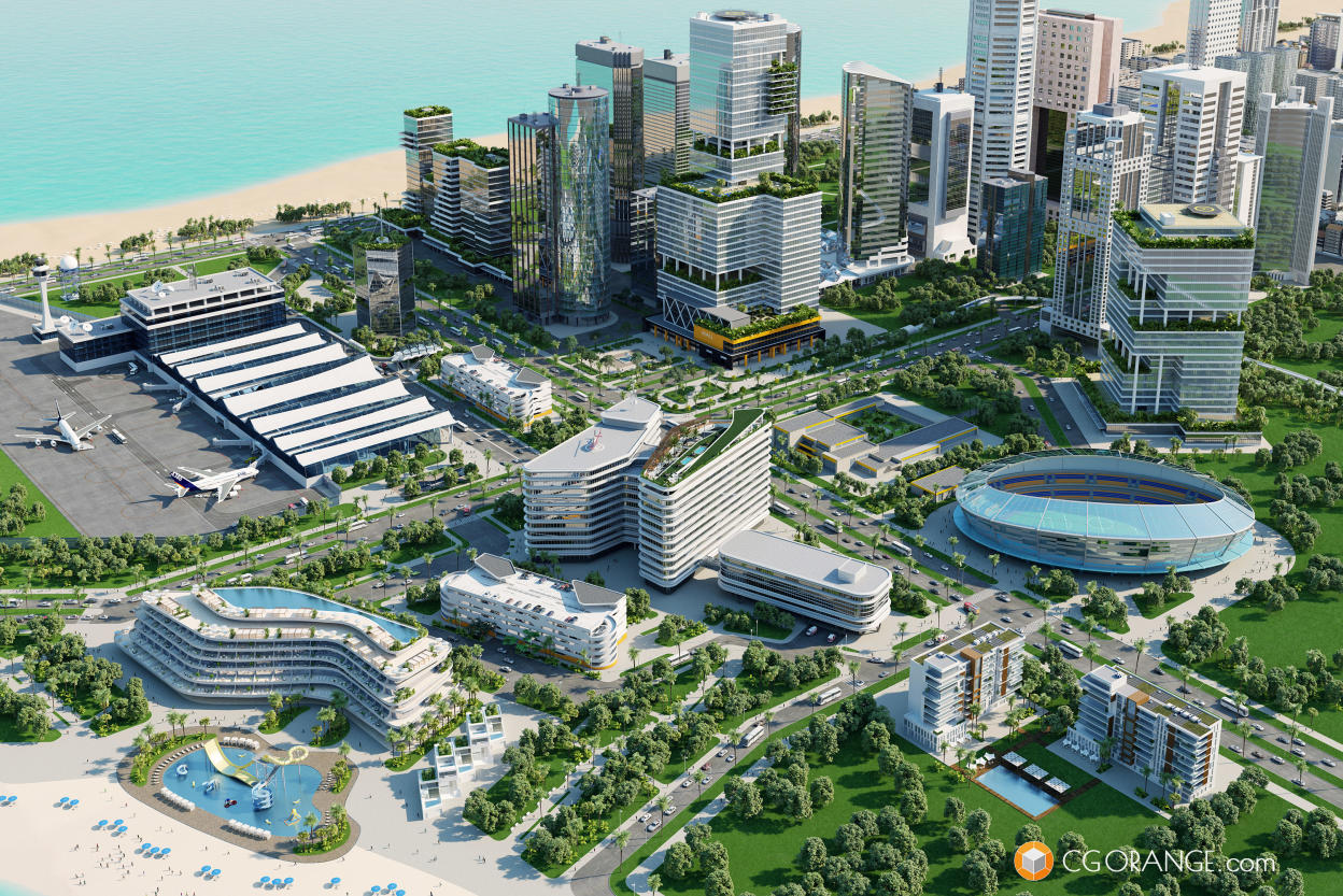Sketch-based 3D models and visualizations for a development in South-East Asia.