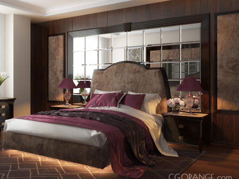 Comfortable classic style purple bedroom design