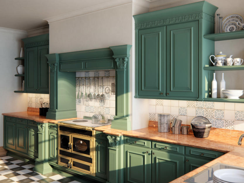 Green Woodwork Kitchen Design