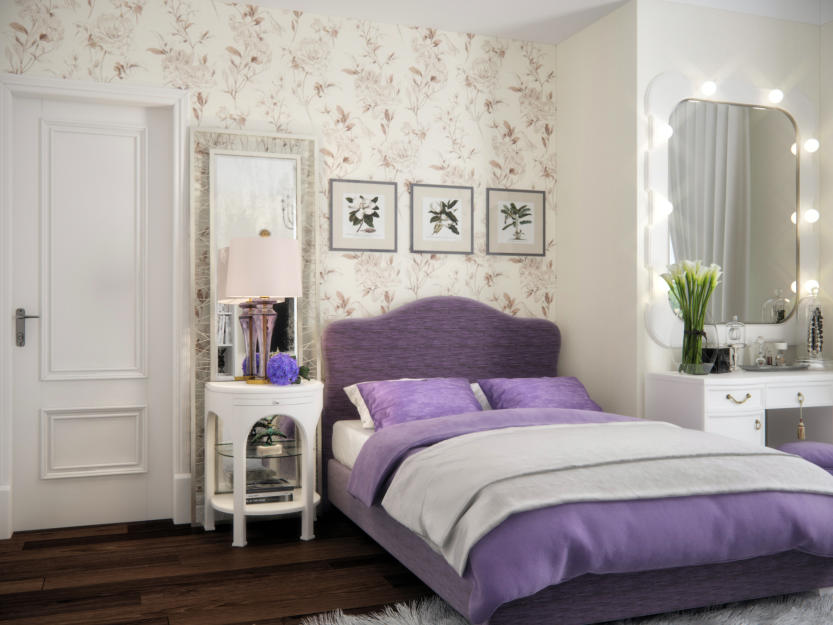 Stylish lilac and white bedroom design